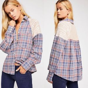Free People Fireside Nights plaid Button Down Top